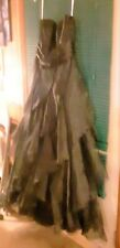 Incredible Long Black Strapless gown - full ruffles  David's Bridal  Size 10