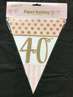 Pink & Gold 40th Birthday Banner Party Decorations Age 40 Bunting Flag Garland
