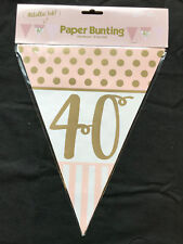 40th Birthday Pennant Flag Banner Pink & Gold Party Decorations Age 40 Bunting