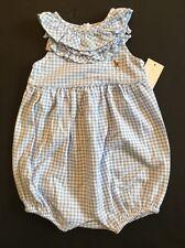NWT Ralph Lauren Baby Girl Blue White Gingham Check Polo Romper Shortall 24 Mos