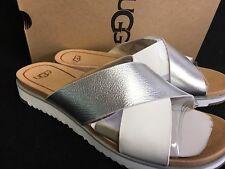 UGG Australia KARI Metallic Silver LEATHER IMPRINT SLIDE SANDALS WOMENS 1017908