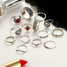 14pcs/set Boho Retro Women Silver Gem Finger Knuckle Rings Punk Ring Jewelry New
