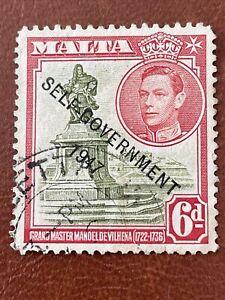 Malta SG242 1947 6d Olive Green & Scarlet Self-Government Used Postage Stamp