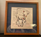 Framed and Matted Funny Anatomy Of A Cat illustration With Quips. Preowned