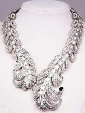 Hot Pendant Crystal Bib Statement charm chunky women gold cuff collar Necklace