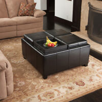 4-Tray-Top Black Leather Storage Ottoman Coffee Table