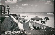 DAYTONA FL Anchorage Beach Colony Umbrellas Vtg 1950's Car Old RPPC Postcard