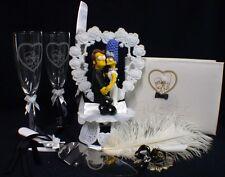 Y Homer Marge Simpsons wedding Cake topper LOT Glasses server set guest book pen