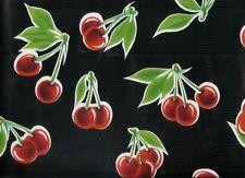 BLACK CHERRY STELLA RETRO KITCHEN PICNIC PATIO OILCLOTH VINYL TABLECLOTH 48x48