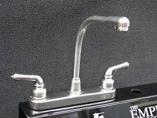 RV Mobile Home Parts Kitchen Sink faucet Hi-Rise Spout Tea Pot Handles Brushed