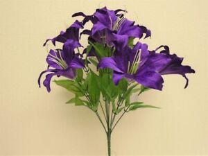 """PURPLE Tiger Lily Bush Satin Artificial Flowers 19"""" Bouquet 11-8225PU"""