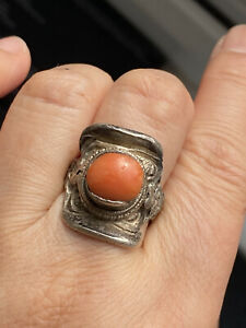 Antique Tested Silver Chinese Coral Ring -Uk Size P