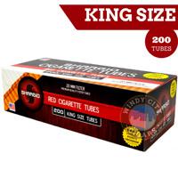Shargio 5 Boxes of 200 Red Filtered Regular Cigarette Tubes King's+FREE cig Case