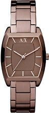 NEW ARMANI EXCHANGE WOMEN AX4112 TONNEAU DIAL STAINLESS BROWN IP BAND WATCH