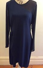 CHARLIE BROWN  navy dress with black mesh contrasting feature BNWT  Size 16
