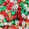 100 Christmas Sparkle Pony Beads Mix Dummy Red Glitter Green Gold Silver Glitter