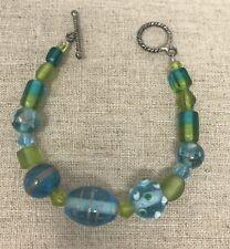 Art Glass Bead Bracelet Silver Tone Toggle Clasp Blue Green Aqua 7�