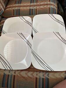 """Set Of 4 Corelle Vitrelle SIMPLE SKETCH Square 9"""" Plates Black Lines"""