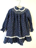 Polly Flinders Vintage Girls Dress Size 4 T Smocked Blue Lace Ruffle Cotton