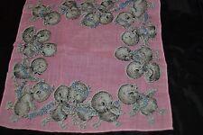 Vintage 1950's Handkerchief Hankie DUCKLINGS Pink 8.5 x 8.5 Duck Babies CUTE!