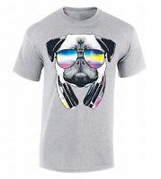 Pug Sunglasses Headphones T-SHIRT Animal Head Dog Face Party Music Funny Shirt