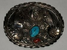 Sterling Silver Handmade Belt Buckle 3D Bear Paw/Claw Signed RB Turquoise/Coral