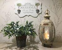 Shabby Chic French Vintage Antique Style Large Glass Lantern Cream Candle Holder