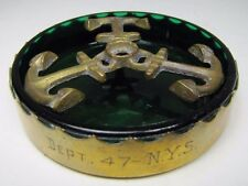 Art Deco CHASE USA Brass & Green Glass Nautical Anchor Ashtray Tray Dept 47 NYS