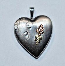 Vtg Black Hills Gold Coleman Co. 12k Gold & Sterling Silver Leaf Locket Pendant