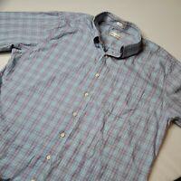 Peter Millar Men's XL Plaid Button Down Short Sleeve Shirt Blue Purple White
