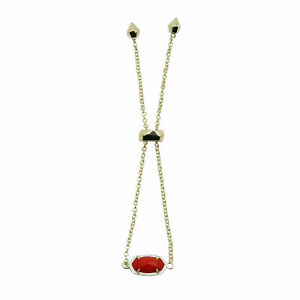 Kendra Scott Elaina Oval Chain Bracelet in Opaque Red and Gold Plated