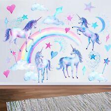 Wandtattoo Kinderzimmer Mädchen Pferd Einhorn Tiere Wolken Wandsticker Aufkleber