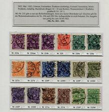 INFLATION: MiNr. 224 - 232 GESTEMPELT, mit einigen UNTERTYPEN, zB. Nr. 224 b