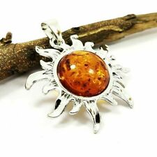 """NATURAL BALTIC AMBER GEMSTONE SILVER PLATED PENDANT JEWELRY 2"""" #SGJPDT1009"""