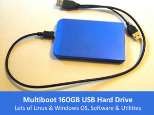 Live Linux Multiboot 160GB USB Hard Drive With Lots of OS, Software & Utilities