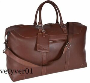 NWT ROBERT GRAHAM Sammy Faux Leather Large Duffle Weekend/Travel Bag Brown