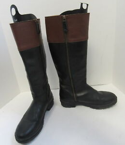 HUNTER BLACK AND BROWN LEATHER BOOTS WITH ZIPPER CLOSURE US 9.5 EUR 39.5