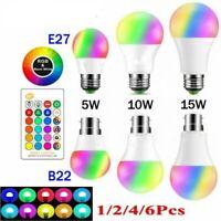 E27 B22 RGB RGBW LED Globe Lamp Colour Changing Light Bulb + 24 Key IR Remote