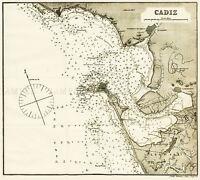 MAP ANTIQUE ROSSER 1869 CADIZ SPAIN HISTORIC LARGE REPLICA POSTER PRINT PAM1191