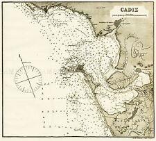 Mapa Antiguo Rosser 1869 Cádiz histórico Gran réplica cartel impresión pam1191
