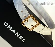 CHANEL Vintage Quilted Ivory Leather Waist Belt Gold Chain Buckle Authentic 93P