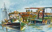 NESTOR Expressionist Rockport Massachusetts Harbor Seascape Watercolor (1993)