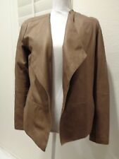 VINCE Women's Brown Draped lined open Leather Jacket $995 SZ M