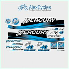 MERCURY 40 HP Outboard Replacement BLUE Laminated Decals Kit Set Marine Boat