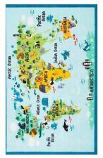 NEW Rhea World Map Rug Kids Bedroom Playroom Nonskid Durable 5X7