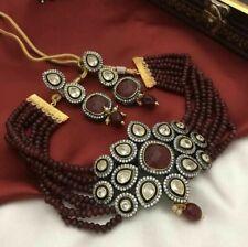 South Indian Kundan Red Onyx CZ Stone Necklace Earrings Women Fashion Jewelry