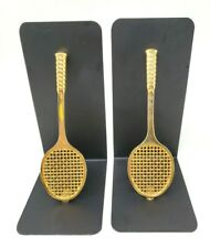 Book Ends Tennis Rackets Gold Black Metal Stand
