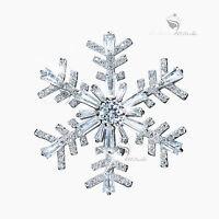 18K WHITE GOLD GP MADE WITH SWAROVSKI CRYSTAL LUXURY SNOWFLAKE BROOCH