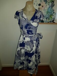 PHASE EIGHT Blue White Floral Cotton Midi Wrap Dress sz 12 M