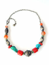 VTG Tibetan Folk Necklace/Choker Silver w/ Turquoise, Coral & Agate Gemstones